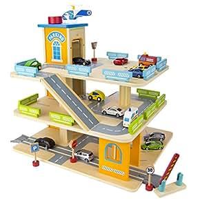 children 39 s wooden 3 level auto car garage with elevator. Black Bedroom Furniture Sets. Home Design Ideas
