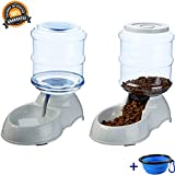 Mingzheng Automatic Gravity Pet Food And Water Feeder Waterer Dispenser Set with Collapsible Bowl for Dog Cat Puppy Kitten Big Capacity 3.75L