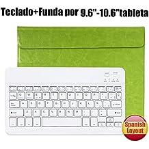 Teclado Bluetooth Español QWERTY Funda ,CoastaCloud Funda Case del Teclado Inalámbrico Magnético Para Cualquier Windows / Android /Apple IOS con 9-10.5 Pulgadas(Tamaño de la tableta adecuada:Min 15x24cm Max 18x26cm) Verde