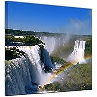 """Bilderdepot24 Cuadros en Lienzo """"Cataratas de Iguazú con el arco iris"""" - 20 x 20 cm - listo tensa, directamente desde el fabricante"""