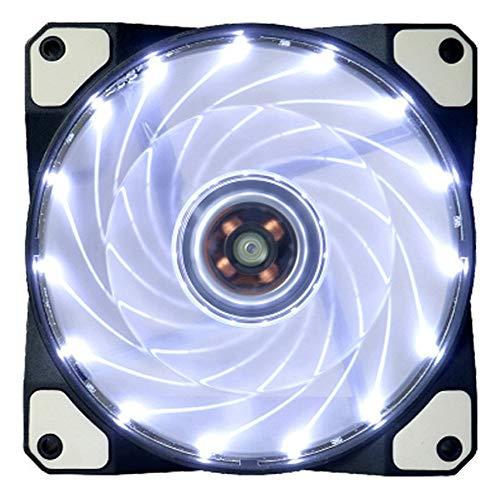 CAOQAO LED Gehäuselüfter 15 LED Totally 120mm DC 12V 4Pin Quiet Edition LED Gehäuselüfter für PC Case D 'Ultra Quiet Computer, Weiß -