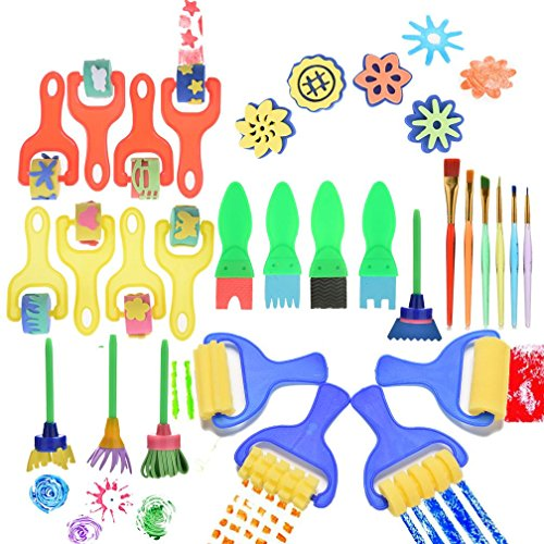 Wetrys Kinder-Malerpinsel mit Schwamm, zum Basteln und Malen für Kinder, erster DIY- Lernschwamm, 30 Stück
