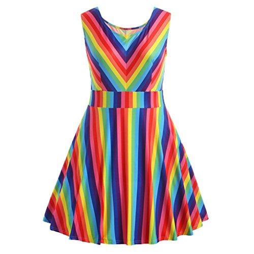 Kleider Damen Elegant LHWY Frauen Vintage Plus Größe Regenbogen Striped Party Kleid Sommer Teenager Mädchen Printed Rundhals Sleeveless A-Linie Camis Minikleid (XL, Mehrfarbig)