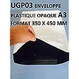 Lot de 100 Enveloppes plastique blanches opaques A3 350 x 450 mm ,pochettes d'expédition 35x45 cm 60 microns. Enveloppe fine 22g, légère, solide , inviolable et imperméable.