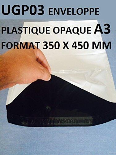 10Stück Briefumschläge aus Kunststoff, weiß, undurchsichtig, A3,350x 450mm, Umschlag 34x 45cm, 60Mikron. Dünner Umschlag, 22g, leicht, stabil, robust und wasserdicht. -