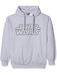 Star Wars Basic Logo-Mens-Hoodie-Grey, Camisetas para Hombre