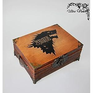 Teebox ,Tee, Tea, Teebeutel ,Teekiste , wood,Game of Thrones, Stark, Winter is coming mit