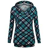 VEMOW Herbst Winter Elegante Damen Frauen Langarm Hoodies mit Knopf Gedruckt Lässig Täglichen Sport Outdoors Hoodies Herbst Sweatshirt(X2-Grün, EU-46/CN-2XL)
