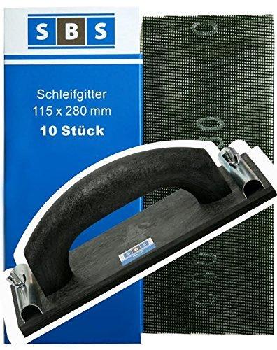 SBS Gitterleinen 280x115mm 70 Stück Mix Pack + 1x Handschleifer 230x105mm