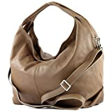 modamoda de - ital Damenhandtasche aus Nappaleder DS26, Präzise Farbe:Toffee