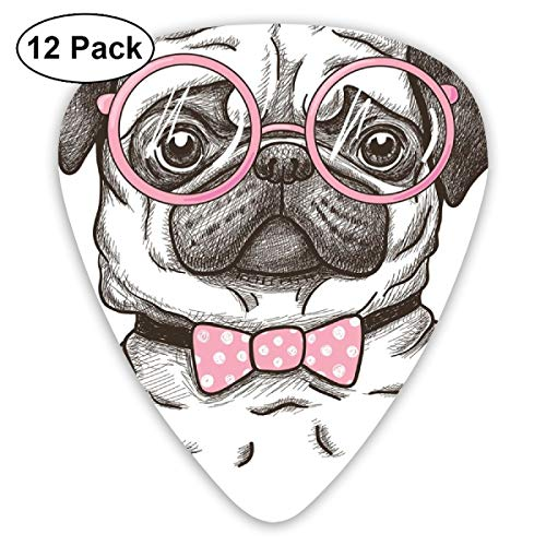 Guitar Picks - Abstract Art Colorful Designs,Cute Pet Dog With Pink Bow Tie Oversized Glasses Hand Drawn Domesticated,Unique Guitar Gift,For Bass Electric & Acoustic Guitars-12 Pack - Oversized Bow