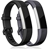 HUMENN For Fitbit Alta HR Strap, Adjustable Replacement Sport Accessory Wristband for Fitbit Alta/Alta HR Fitness Tracker Small #2 Black+Grey