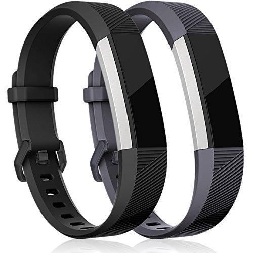 HUMENN Correa para Fitbit Alta (HR), Edición Especial Deportes Recambio de Pulseras Ajustable Accesorios para Fitbit Alta/Fitbit Alta HR Grande Nero+Gris
