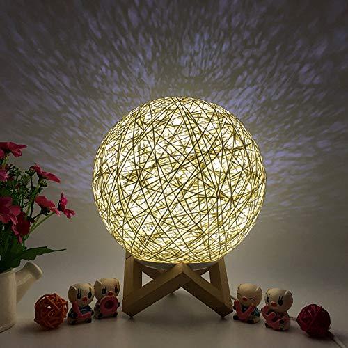 GJKK 3D LED Rattan Mond Nachtlicht Mondlicht USB Ladetisch LED Lampen Beleuchtung Stimmungslichter Nachttischlampen Weihnachtsbeleuchtung Schreibtischlampen Schreibtisch Mondlampe für Home Büro (B)