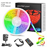Unisun LED Strips,5m RGB LED Light Strips Kit Waterproof Music Sync LED Lighting for Cabinet Lobby Party Staircase Decoration 16.4ft 5050 LED Light w/Remote Control (Battery Included)