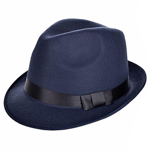 Vbiger Chapeau Fedora Trilby en Feutre Style Rétro à Bords Roulés Unisexe Bleu 2380997