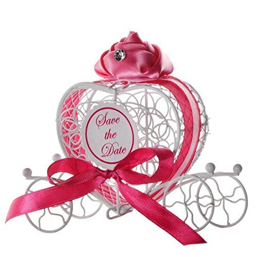 OHQ Nouveau bonbons boîte-cadeau romantique chariot de chocolat noce fournitures de fête de mariage Boîtes de bonbons en fer forgé petites boîtes de rangement d'objets petits ornements (Rose vif)