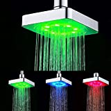 6 Pulgadas Alcachofas fijas Led 3 Colores temperatura ,Cuadrado, ducha fija pared alcachofas ,Cromado (3 colores)