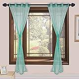Homefab India Tissue Plain Modern 2 Piece Eyelet Polyester Window Curtain Set - 5ft, Aqua Blue