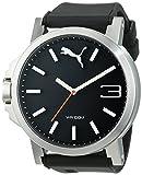 Puma Ultrasize - Reloj análogico de cuarzo con correa de poliuretano para hombre, color negro/negro y plateado