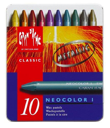 Caran d 'Ache Neocolor I Kreiden, verschiedene/Metallic Farben (10Stück)