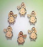 Osterküken mit Blume im Schnabel (klein) 40x25 mm aus Sperrholz zum bemalen incl. Bohrung zum aufhängen Inhalt 6 Stück