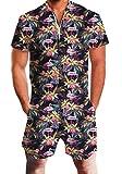 RAISEVERN Herren Leger Kurzarm Vintage Flamingo Overall Strampler Overall Zip Shirt mit Tasche Cargo Hosen Anzüge