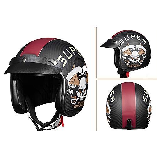 MMGIRLS Casco Retro Moto in Fibra di Carbonio, Moto Moto Anti-collisione/Scooter/Casco Sportivo Veicolo off-Road per Uomini e Donne,L