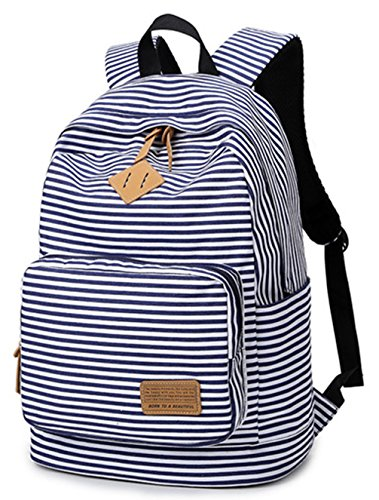 Keshi Leinwand Cool Schulrucksäcke/Rucksack Damen/Mädchen Vintage Schule Rucksäcke mit Moderner Streifen für Teens Jungen Studenten Blau