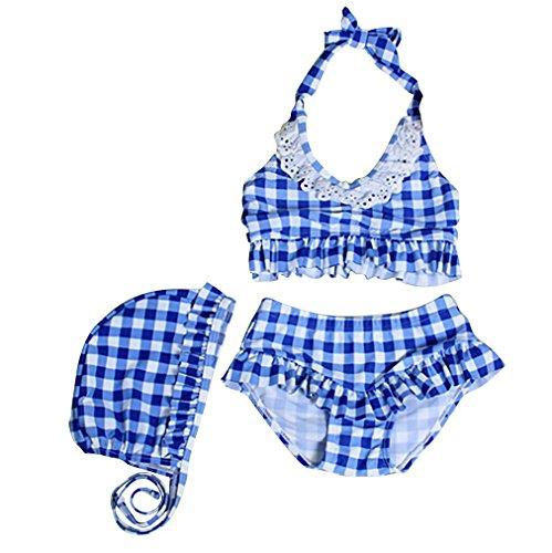 highmall Bambine da 3pezzi Retro Plaid Costumi Da Bagno Estate 2-6anni Blue XL