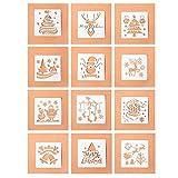 12 plantillas de dibujo de Navidad,plantillas de plástico reutilizables, plantillas de escala, juegos de plantillas de Feliz Navidad para la creación,álbumes de recortes,tarjetas manualidades