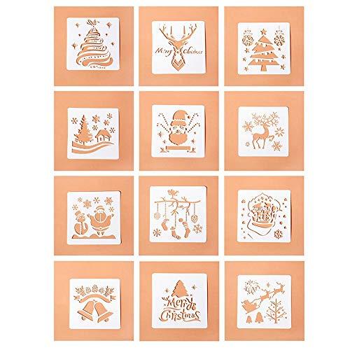 12 plantillas de dibujo de Navidad,plantillas de plástico reutilizables, plantillas de escala,...