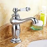 Cabinet de salle de bain de lavabo de robinet de cuivre chaud et froid européen Robinet de salle de bain en céramique bleu et blanc ( Couleur : Silver )