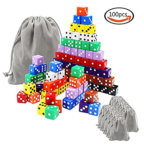 Whonline 100 Pcs 16mm Rectangular Non-Transparent 6-sided Dice, 10 Colors, with 10 Flannel Pouches & 1 Large Flannel