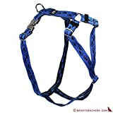 Feltmann Premium Hundegeschirr mit Alu-Max®, Soft- Nylonband, blau mit schwarzen Pfötchen, 30-50cm, 15mm