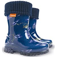 Demar Girls Kids Fleece-Lined Wellington Boots Wellies Blueberry New