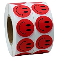 Hybsk(TM) Red Smiley Face Happy Stickers 25mm Round Circle Teacher Labels 1,000 Total Per Roll