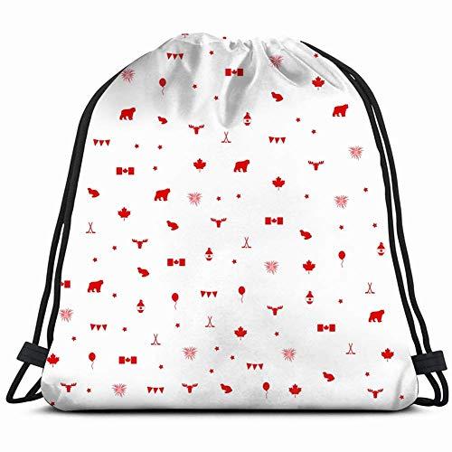DHNKW Canada daypattern Fabric Holidays Lightweight Drawstring Bag Sport Gym Sack Bag Backpack 17X14 Inch