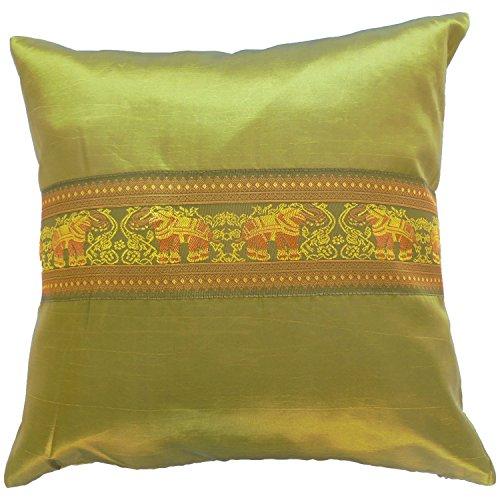 Funda de almohada caso cojín * * * Verde * * * de seda tailandesa (44cm x 44cm elefante elegante agradable hermoso