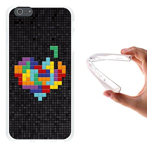 iPhone 6 Plus | 6S Plus Hülle, WoowCase Handyhülle Silikon für [ iPhone 6 Plus | 6S Plus ] Chic Stil Gestreiftes Herz Handytasche Handy Cover Case Schutzhülle Flexible TPU - Transparent Housse Gel iPhone 6 Plus | 6S Plus Transparent D0454