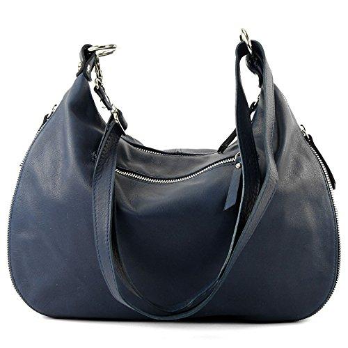 modamoda de �?italiano Borsa in pelle borsa a tracolla borsa donna borsa a tracolla in nappa T56 Dunkelblau