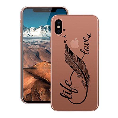 HB-Int Hülle für iPhone X Schutzhülle Transparent mit Plum Blumen Muster Etui Silikon Handyhülle Flexible Slim Case Cover Ultra Dünn Durchsichtige Handytasche Schwarz Feder