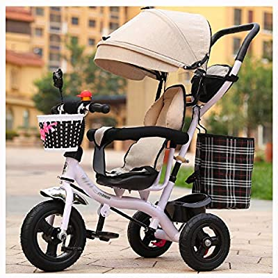 RUMIAO Baby Tricycle, [Rotating Seat] Baby Stroller, Adjustable Three-wheeled Cart, Increase Rear View Sunroof, Double Brake System, 0-6 Months,WhiteA