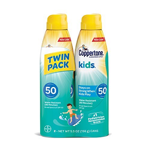 Coppertone Kids Sunscreen Water Resistant Continuous Spray Broad Spectrum SPF 50, Twin Pack (5.5 Ounces Per Bottle) -