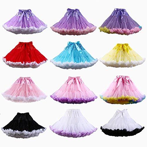 PhilaeEC Frauen Tüll Petticoat Tutu Party Multi-Layer Puffy Cosplay Rock PURPLE + WEISS