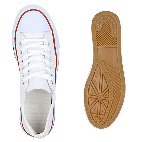 Damen Sneakers Low-Top Basic Turnschuhe Freizeit Schuhe Weiß