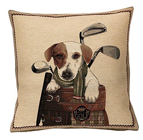 Elegante Copricuscino, Cuscino decorativo cover 45x 45cm, Jack Russell Golfbag, Gobelin Cushion