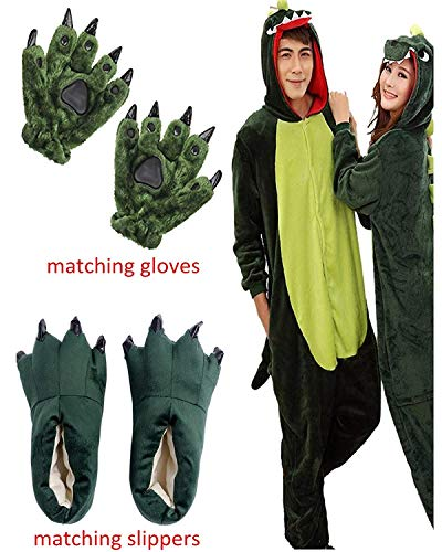 Ghope Kigurumi Dinosaurier Skelett Schlafanzug Pyjamas Erwachsene Anime Jumpsuits Overall Pyjamas Outfit Onesie Cospaly Party Flanelle Kostüm Tiere Halloween mit Handschuhe + Hausschuhe