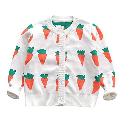 Hirolan Stricken Sweatshirt Kleinkind 12 Monate - 5 Jahre Baby Mädchen Lange Ärmel Karotte Drucken Strickjacke Mantel Pullover Kind Sweater Outwear Kleidung (Weiß,110)