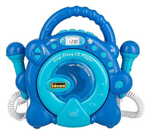 Idena 40284 - CD Player Sing Along, mit zwei Mikrofonen und LED Display, blau